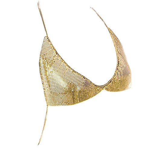 (Fine Fashion Women Shinny Chain Bra Necklace Summer Bikini Bralette Body Jewelry Chain (Gold))