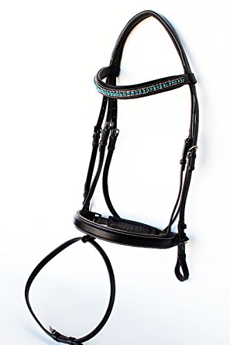 St. Charles Horse English Padded Leather Show Bridle Crystal Bling Jumping Hunter 803R29