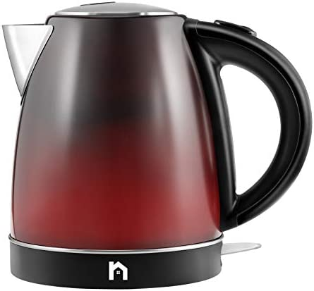 New House Kitchen Color Changing Electric Kettle with Rapid Boil Feature BPA Free Interior, Fast Heating Water Boiler, Auto-Shutoff, 1.7 Liter 1.8 Quart, Stainless Steel Black Red,