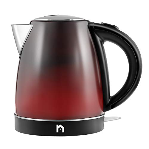 (New House Kitchen Color Changing Electric Kettle with Rapid Boil Feature BPA Free Interior, Fast Heating Water Boiler, Auto-Shutoff, 1.7 Liter/1.8 Quart, Stainless Steel/Black/Red)