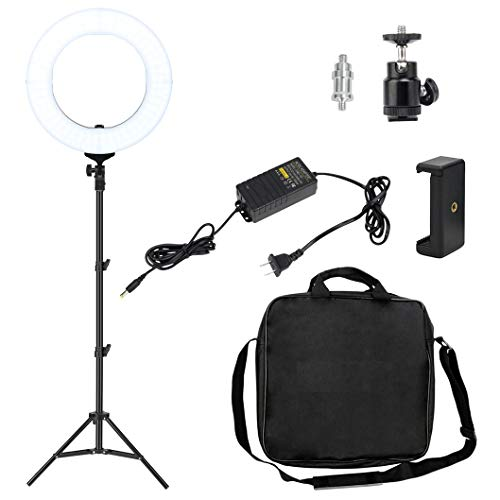 (14 Inch Dimmable LED Ring Light, Nydotd Camera Video Lighting Kit with Stand 41W 2700-5500K Adjustable Color Photography YouTube Live with Phone Clamp Ball Head for Makeup Portrait)