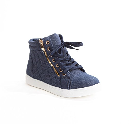 Soho Schuhe Damen Kunstleder gesteppte Zipper Lace Up High Top Sneakers Blau Weiss