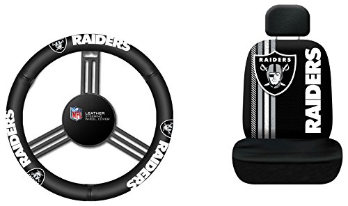 (Fremont Die NFL Oakland Raiders Rally Seat Cover with Leather Steering Wheel Cover, One Size, Black)