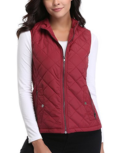 MISS MOLY Women's Stand Collar Lightweight Padded Zip up Sleeveless Vest Warm in Winter Quilted Gilets Wine Red Large ()
