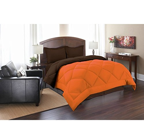 PH 3 Piece King Orange Chocolate Reversible Comforter Set, Down Alternative, Luxury Bedding, Piped Edging, Soft Hypoallergenic, Double-Needle Stitching, Stain Resistant, Tangerine Brown, - Edging Piped