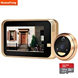 HomeFong Wireless Video Peephole Camera WiFi Smart Video Doorbell Door Intercom for Home with Wide Angle IR Motion Detection Recording, Support Smart Phone Remote Realtime Control