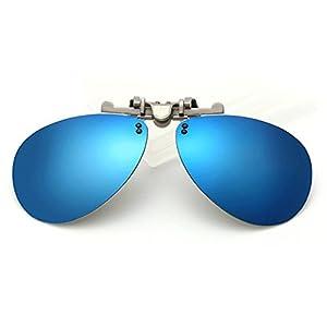 LOMOL Fashion Polarized Myopia Clip-on Flip up UV Protection Aviator Style Sunglasses(C3)