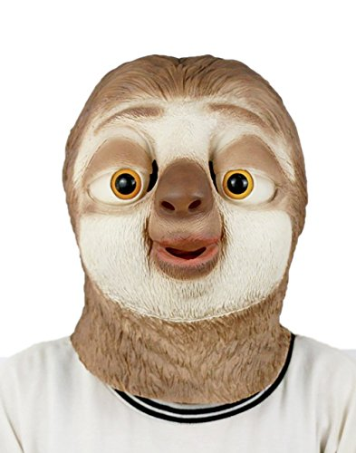 DylunSky New Halloween Lovely Sloth Latex Mask Tricky Toy]()