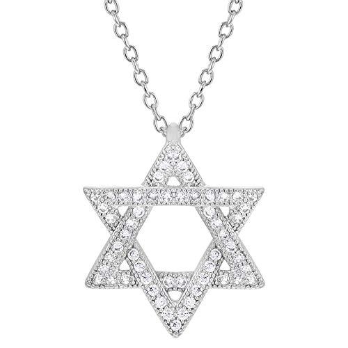 In Season Jewelry Rhodium Plated Jewish Star of David White Clear CZ Pendant Necklace for Women 19
