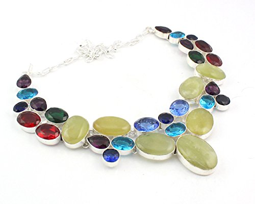 Yellow Chrysoprase Red Garnet Blue Topaz Natural Necklace High Finish Silver Plated Jewelry 18