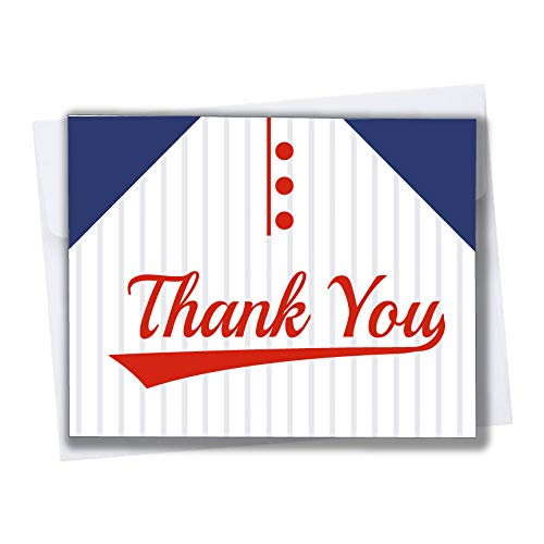 Baseball Thank You Cards for Baby Shower or Baseball Themed Birthday Party 10 Pack Blank Inside with Envelopes Jersey Red Black Orange Blue (Blue and Red)