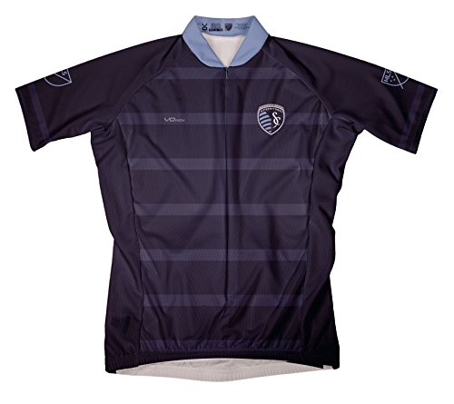 Kansas Bike Jersey - MLS Sporting Kansas City Women's Secondary Short Sleeve Cycling Jersey, Large, Blue
