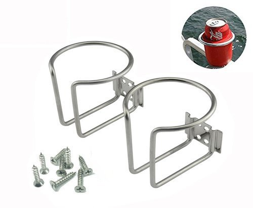 Z-Color 2pcs Stainless Steel Boat Ring Cup Drink Holder Universal Drinks Holders for Marine Yacht Truck RV Car Trailer Hardware ()