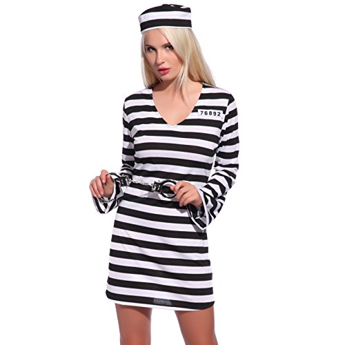Fashoutlet Women Ladies Jail Prisoner Convict Striped Uniform Cosplay Costume (Convict Lady Plus Size Costume)