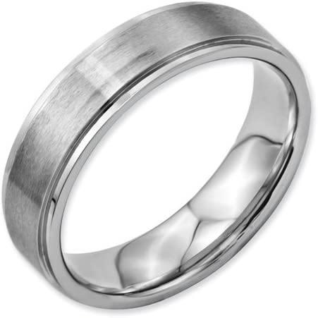 Bridal Stainless Steel Ridged Edge 6mm Brushed and Polished Band