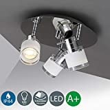B.K.Licht LED Ceiling lamp 3 x 5W, Bathroom Lighting with Rotating spotlights IP44 Waterproof, Warm White Light, GU10, 400lm