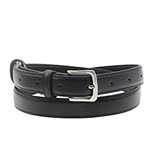 Maikun Womens Skinny Leather Belt Solid Color Pin Buckle Simple Belts Black 32-34""