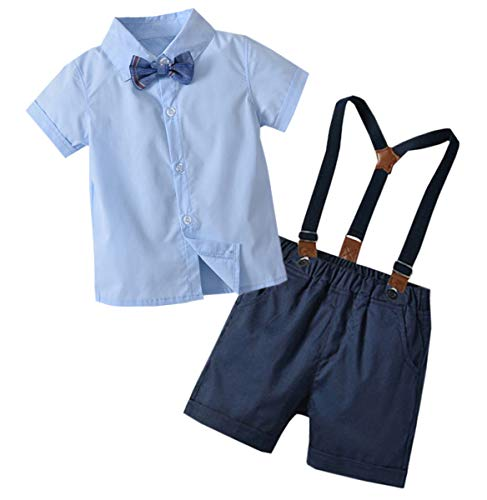 Baby Boys Dress Clothes, Boys Long Sleeves Button Down Dress Shirt with Bowtie + Suspender Pants Set Birthday Wedding Outfit, Light Blue, Tag 110 = 2-3 Years