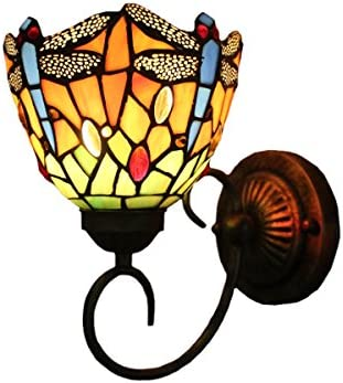 FUMAT Tiffany Wall Lamp LED Sconces Stained Glass Corridor Light Dragonfly Mirror Front Lamp E26 110V Gallery Wall Lights Passage 6″ Hallway Light