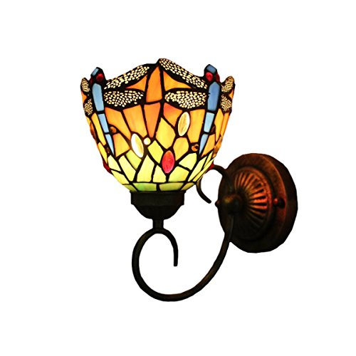 (FUMAT Tiffany Wall Lamp LED Sconces Stained Glass Corridor Light Dragonfly Mirror Front Lamp E26 110V Gallery Wall Lights Passage 6