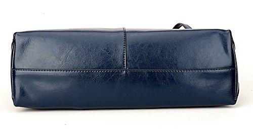 Covelin Women's Handbag Genuine Leather Tote Shoulder Bags Soft Hot Blue by Covelin (Image #3)