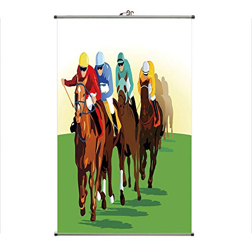 iPrint Wall Hanging Picture Wall Scroll Poster Fabric Painting,Scene with Jockeys and Racing Horses Equine,3D Print Design Personality Customization Make Your Room unique23.6 X19.7 -