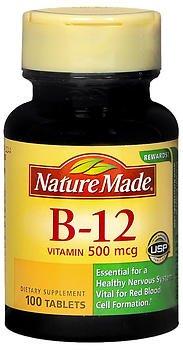 Nature Made Vitamin B-12 500 mcg Tablets 100 ea
