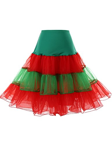 (Dresstells Women's 50s Rockabilly Petticoat Skirt Tutu Christmas Holiday Underskirt Green-Red)