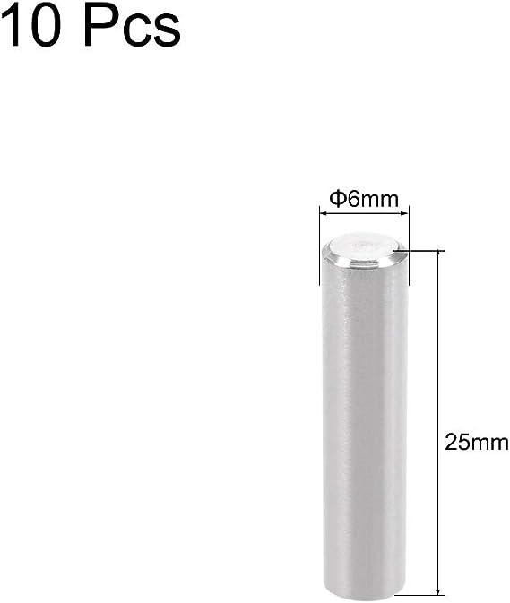 sourcing map 10 STK Zylinderstift 304 Edelstahl-Regalhalterungsstift Befestigen 6mmx20mm