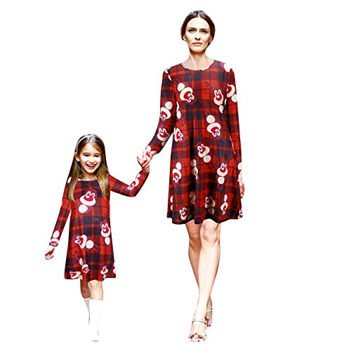 Christmas Mommy&Me Women Lady's Girls Cartoon Animal Print Dress Family Clothes