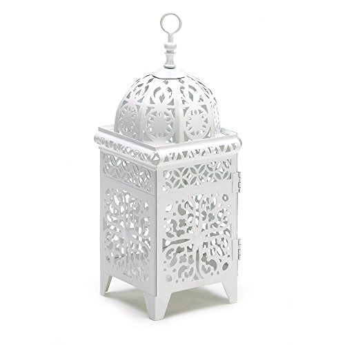 Candle Lanterns White, Antique Iron Decorative Scrollwork Candle Lantern Holder (Scrollwork Lantern Candle)