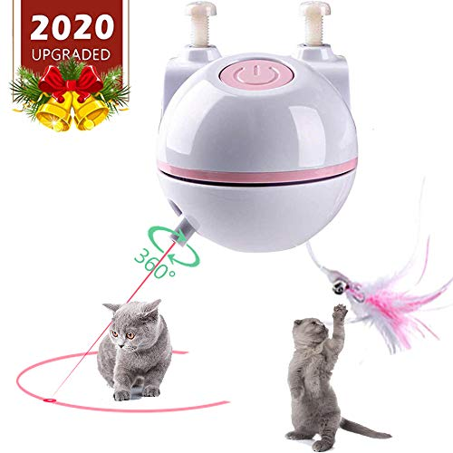 ELEBOOT Interactive Cat Toys, Automatic Rotated Spinning Light with Feather 2 in 1 USB Rechargable Electronic Kitten Toy and Chasing Hunting for Cat Tree,Cat House 2