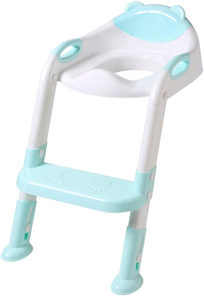 Reductor de Agua para niños con Escalera – Asiento rígido Ajustable para formación de Orinal para niño – Pasamanos en Ambos Lados Apto para Forma de V y U y o Inodoro Seat para niños niñas Azul/Rosa