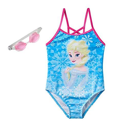 Disney Little Girls' Movie Character One-Piece Fashion Swimsuit (4, Frozen Blue) (Disney Swimsuit One Piece)