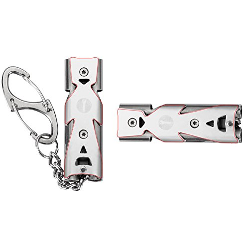 WINGOO Emergency Whistle Stainless Steel Double Tubes High Decibel EDC Outdoor Tool Lifesaving Whistle