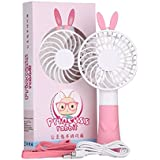 Nestar Handheld Portable Fan Mini USB Rechargeable Personal Electric Table Fan with 2 Speeds for Office,Study,Outdoors and Travel,3.5 Inch,Pink
