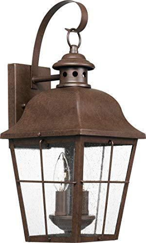 Quoizel MHE8409CU Millhouse Seedy Glass Outdoor Wall Sconce Lighting, 2-Light, 120 Watts, Copper Bronze (19