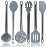 Grey Silicone Cooking Utensils for Modern Cooking and Serving - Grey with Brushed Black Stainless Steel Cooking Utensils, 6-Piece Set: Black Kitchen Decor