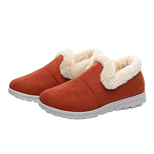 Hzjundasi Zapatos Invierno Deportiva de Mujer Casuales Footwear Al Aire Libre Forrado Cálido naranja