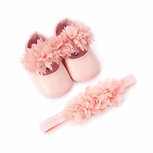 "Bebila  Flower Mary Jane Baby Moccasins with Elastic Headband - Summer Soft Sole Shiny Baby Girls Shoes (US 4/4.53""/ 6-12months/see Size Chart, Pink Flower) ()"