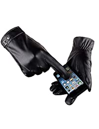 Men's Touchscreen Gloves, Ulstar Fleece Lining Leather Gloves Medium Size