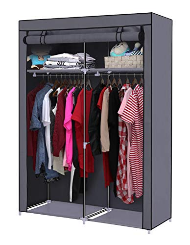 YOUUD Closet Organizer Wardrobe Portable Wardrobe Storage Clothes Closet Portable Closet Rod Storage Closet Standing Closet Folding Closet Portable Closet Organizer Wardrobe Closets Grey
