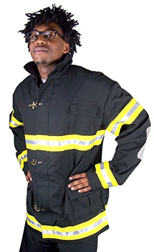 Adults Firefighter Black Suit Jacket Halloween Costume (Large)