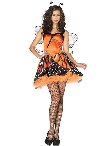 [Leg Avenue Women's 2 Piece Lovely Monarch Dress With Layered Skirt And Head Piece, Orange/Black,] (Orange Adult Butterfly Costumes)