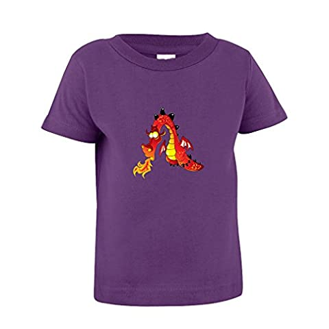 Dragon Fire Breast Cartoon Character Toddler Baby Kid T-Shirt Purple Tee 6 Mo - 7T - 4T - Toddler Purple Character T-shirt