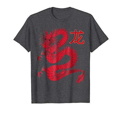 Mens Dragon Sheng Xiao Chinese character animal zodiac sign tee 3XL Dark Heather