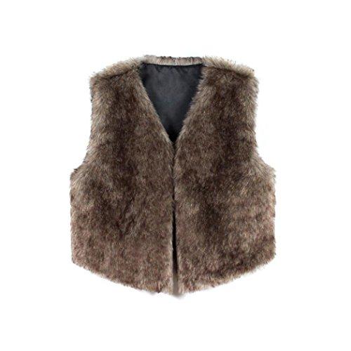 de Escudo Coat del de mujeres de Shrug Gilet la Outwear sintética las las marrón sin mujeres Internet Chaleco piel mangas Chaqueta abrigo chaleco rq0Rwr