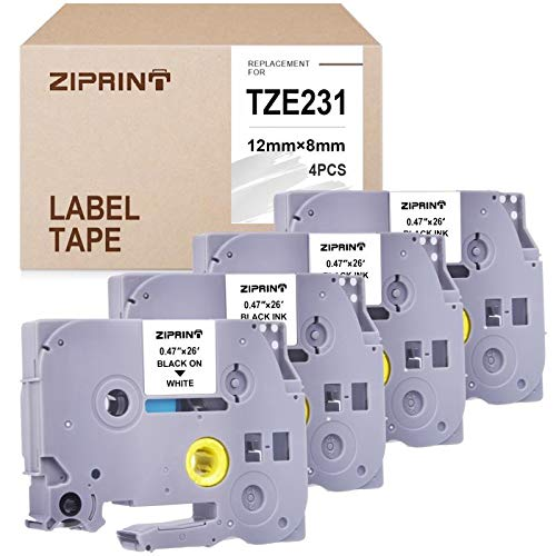 ZIPRINT 4-Pack TZe-231 Compatible with P-Touch TZ231 TZe231 TZ TZe P Touch Label Tape for PT-D210 PT-H100 PT-1880 PTD400AD PT-P700 Label Maker, Black on White, 0.47inch (12mm) x 8m (26.2ft) (Label Printer P700)