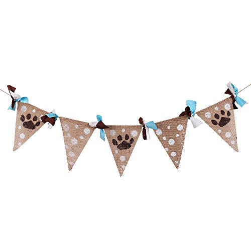 QIYNAO Linen Vintage Bunting Animal Footprint Hanging Banner Garland Wedding Birthday Party -
