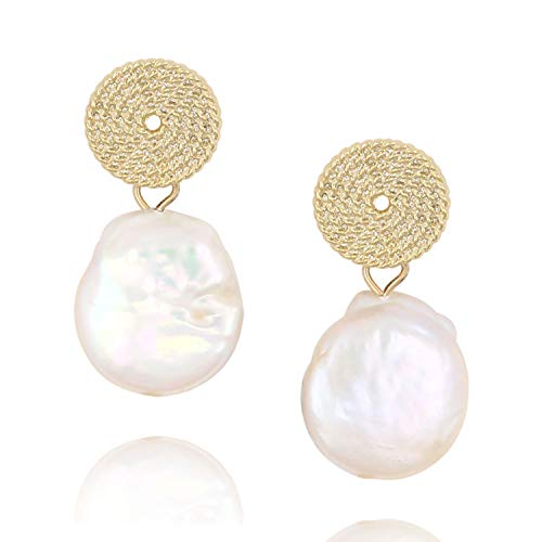 Large Baroque Coin Pearl Dangle Drop Earrings 14K Gold Round Disk Pearl Earring for ()